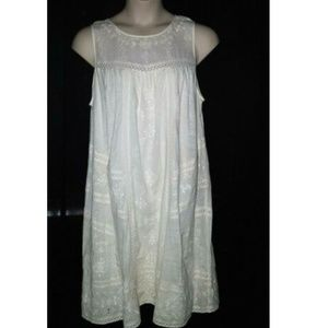 Lucky Brand Ivory Knit Embroidered Dress Eyelet